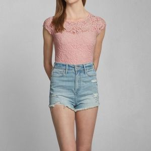 Abercrombie & Fitch baby pink lace top